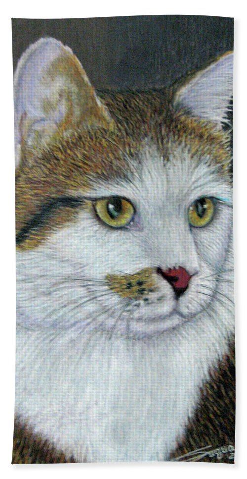 Fuqua - Artwork Bath Sheet featuring the drawing Golden Eyes by Beverly Fuqua