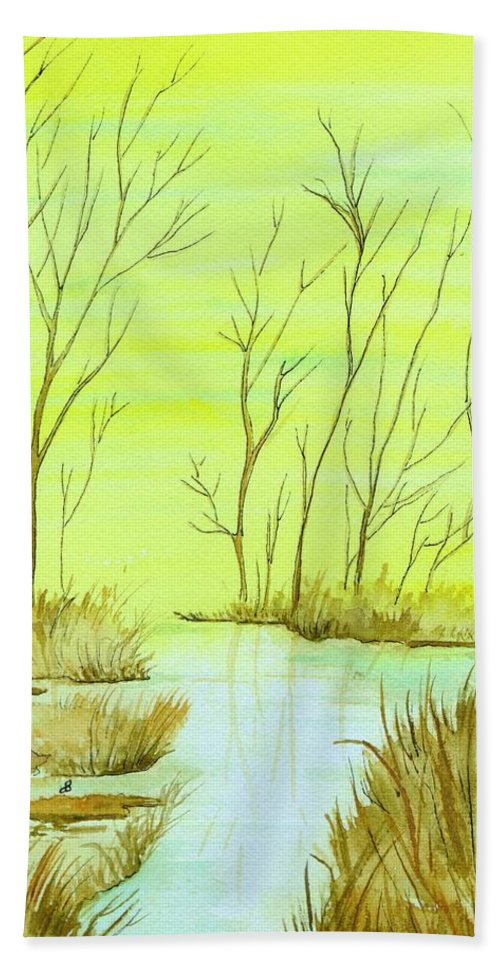 Watercolor Hand Towel featuring the painting Golden Fall Day by Brenda Owen
