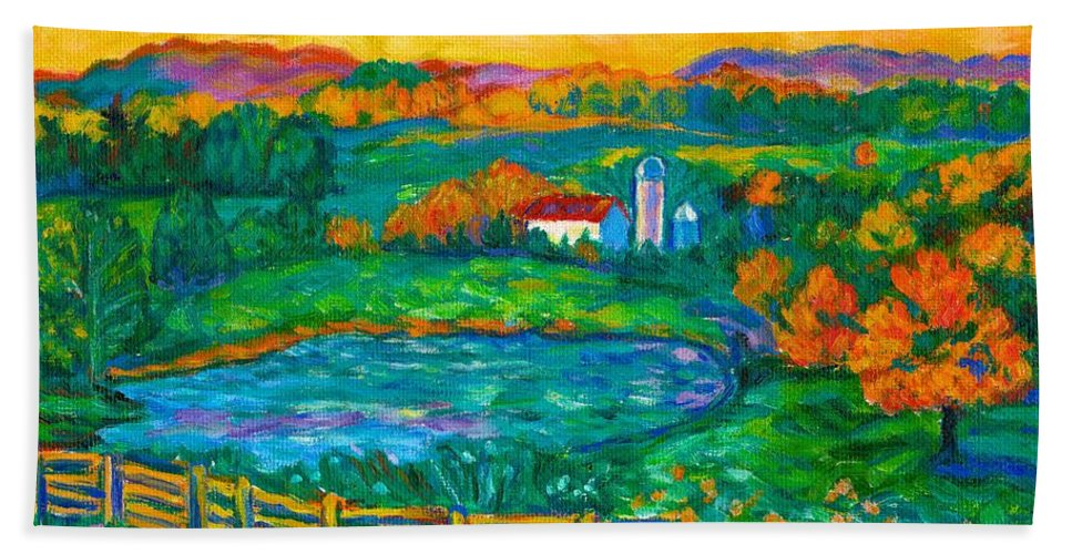 Landscape Bath Towel featuring the painting Golden Farm Scene Sketch by Kendall Kessler