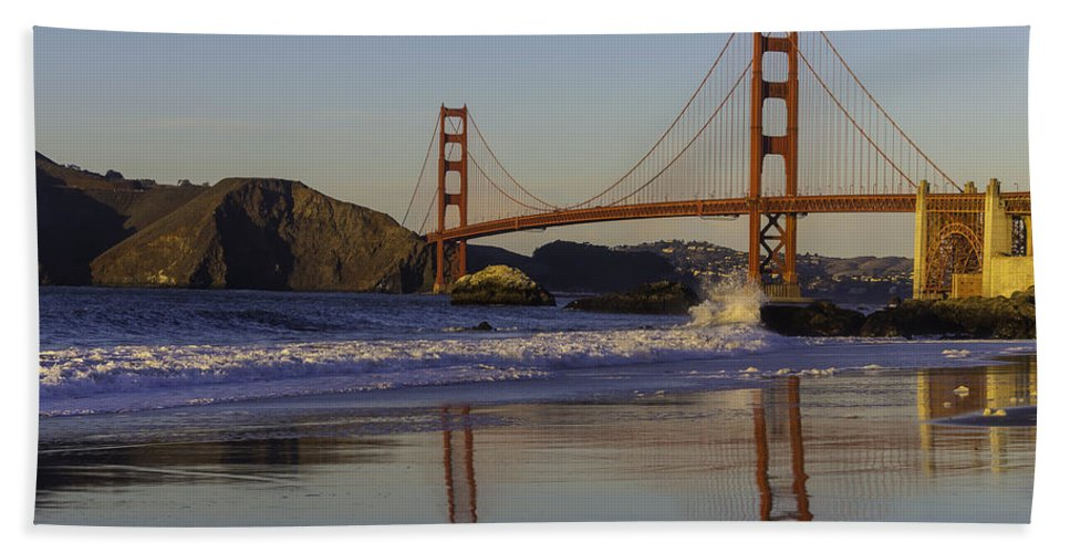 Golden Gate Bridge Tower Blue Sky Bath Sheet featuring the photograph Golden Gate And Waves by Garry Gay