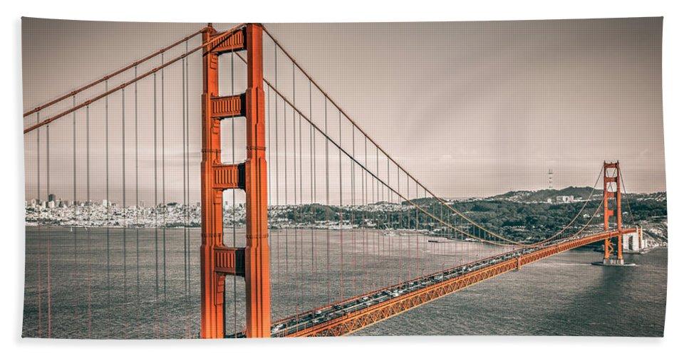 Golden Gate Bridge Bath Sheet featuring the photograph Golden Gate Bridge Selective Color by James Udall