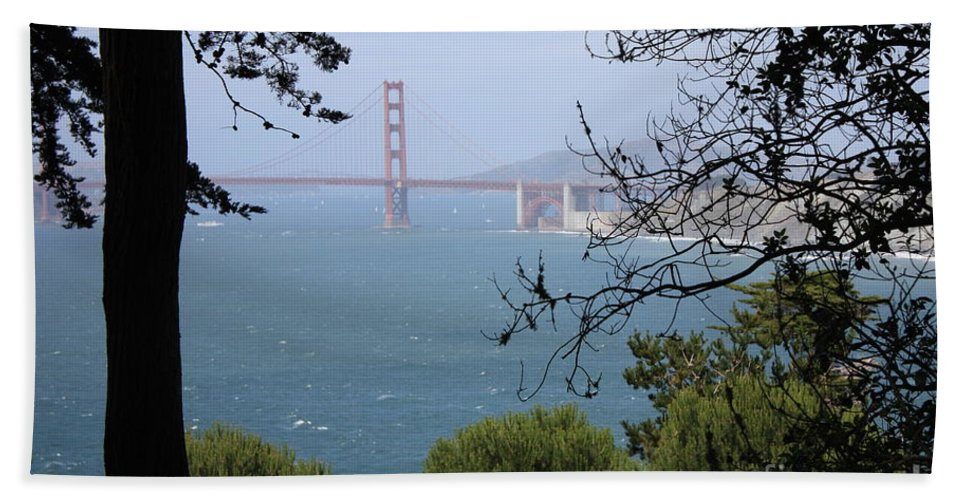 San Fancisco Hand Towel featuring the photograph Golden Gate Bridge Through The Trees by Carol Groenen