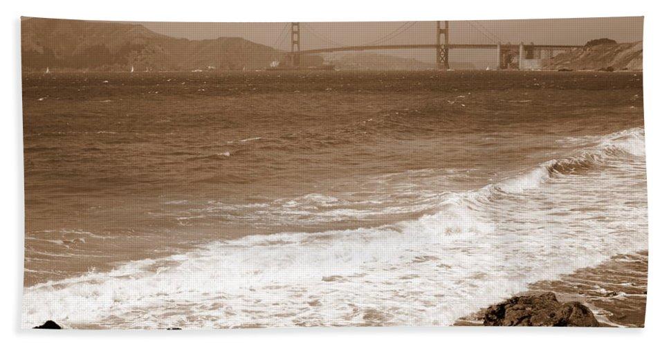 Golden Gate Bridge Hand Towel featuring the photograph Golden Gate Bridge With Shore - Sepia by Carol Groenen