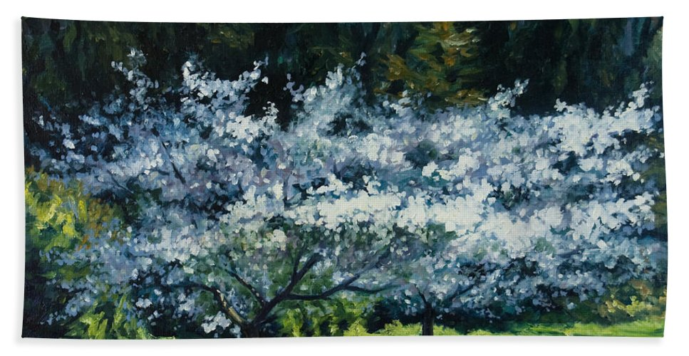 Trees Bath Sheet featuring the painting Golden Gate Park by Rick Nederlof