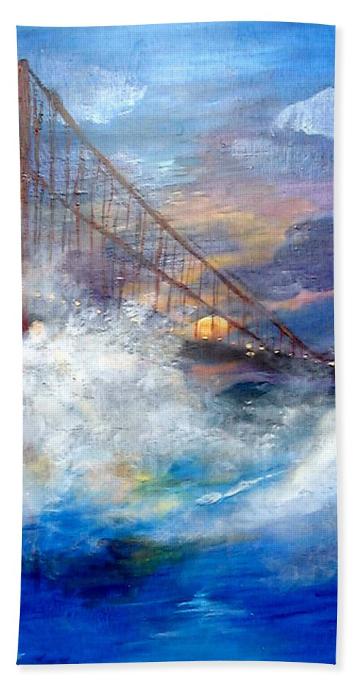 Golden Gate Hand Towel featuring the painting Golden Gate Sunset by Travis Day