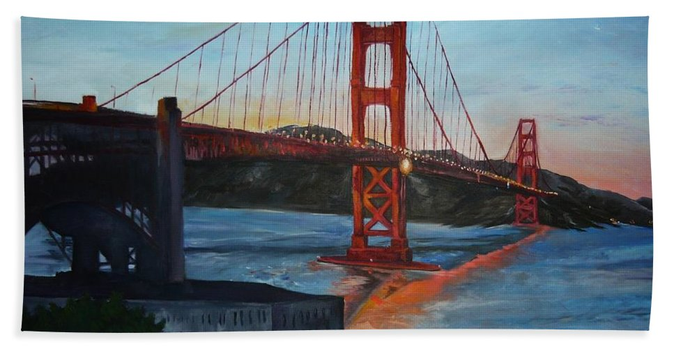 San Francisco Hand Towel featuring the painting Golden Gate by Travis Day