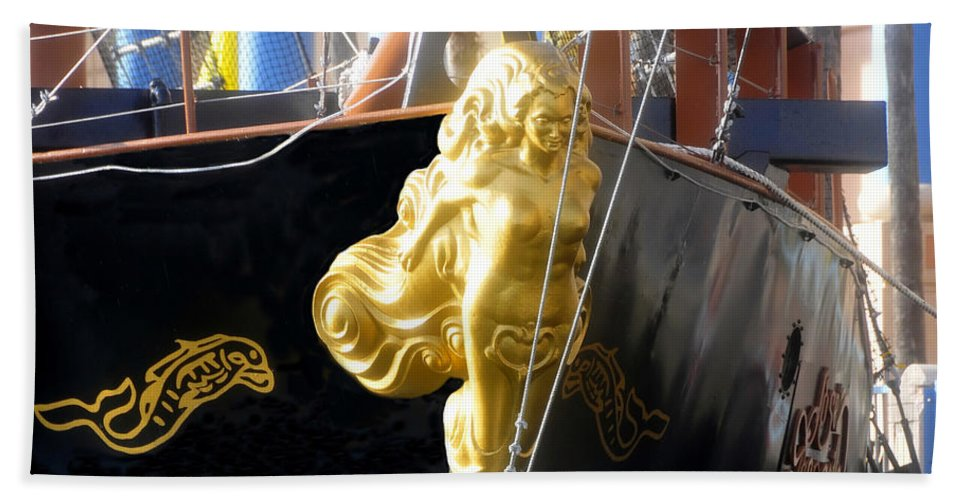 Ship Bath Sheet featuring the photograph Golden Girl Of Gasparilla by David Lee Thompson