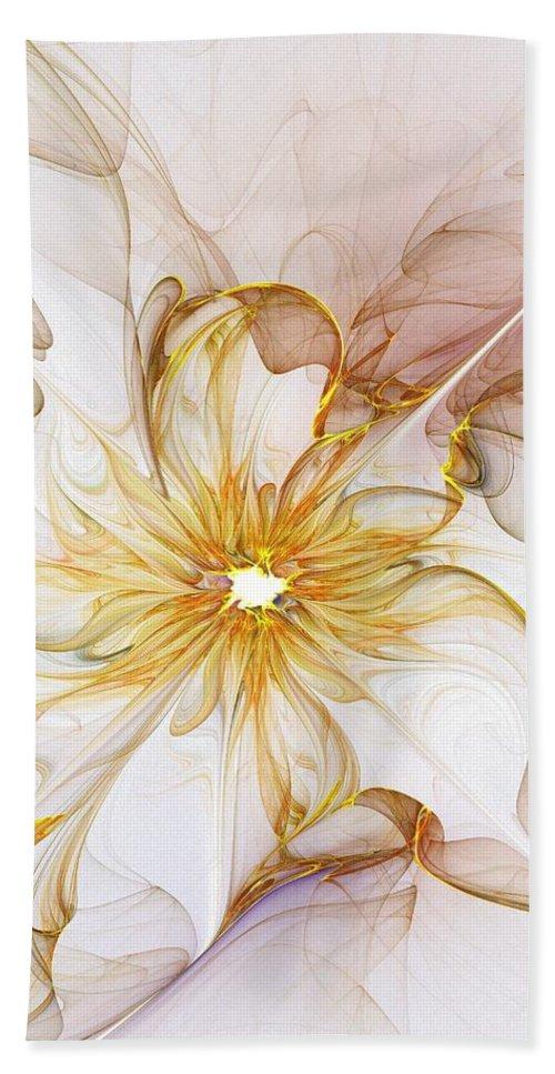 Digital Art Hand Towel featuring the digital art Golden Glow by Amanda Moore