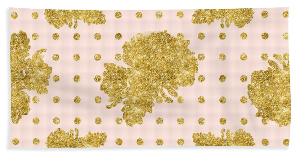 Gold Hand Towel featuring the painting Golden Gold Blush Pink Floral Rose Cluster W Dot Bedding Home Decor by Audrey Jeanne Roberts