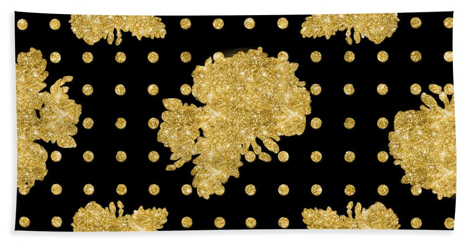 Gold Hand Towel featuring the painting Golden Gold Floral Rose Cluster W Dot Bedding Home Decor Art by Audrey Jeanne Roberts