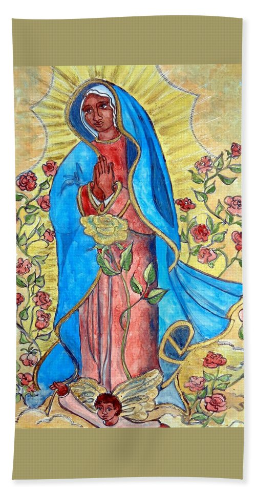 Virgin Mary Hand Towel featuring the painting Golden Guadalupe by Sarah Hornsby
