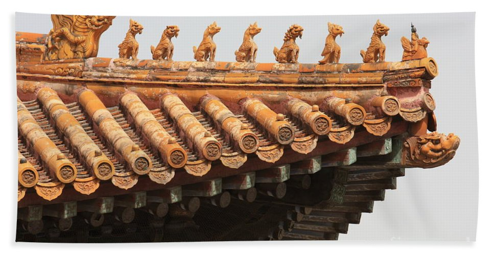 China Hand Towel featuring the photograph Golden Guardians Of The Forbidden City by Carol Groenen