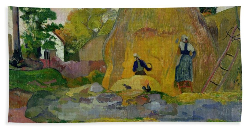 Yellow Haystacks Hand Towel featuring the painting Golden Harvest by Paul Gauguin