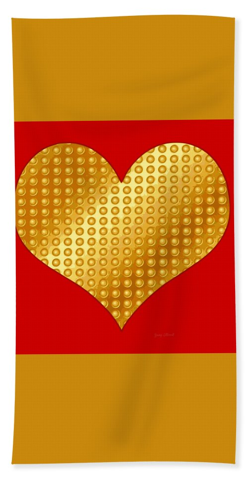 Golden Bath Sheet featuring the digital art Golden Heart Red by Yamy Morrell