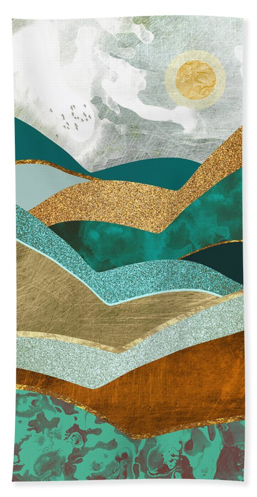 Hills Bath Sheet featuring the digital art Golden Hills by Spacefrog Designs
