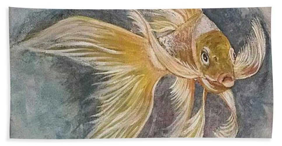 Hand Towel featuring the painting Golden Koi by Cb Fineartstudios