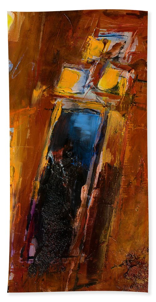 Abstract Bath Sheet featuring the painting Golden Lights by Elise Palmigiani