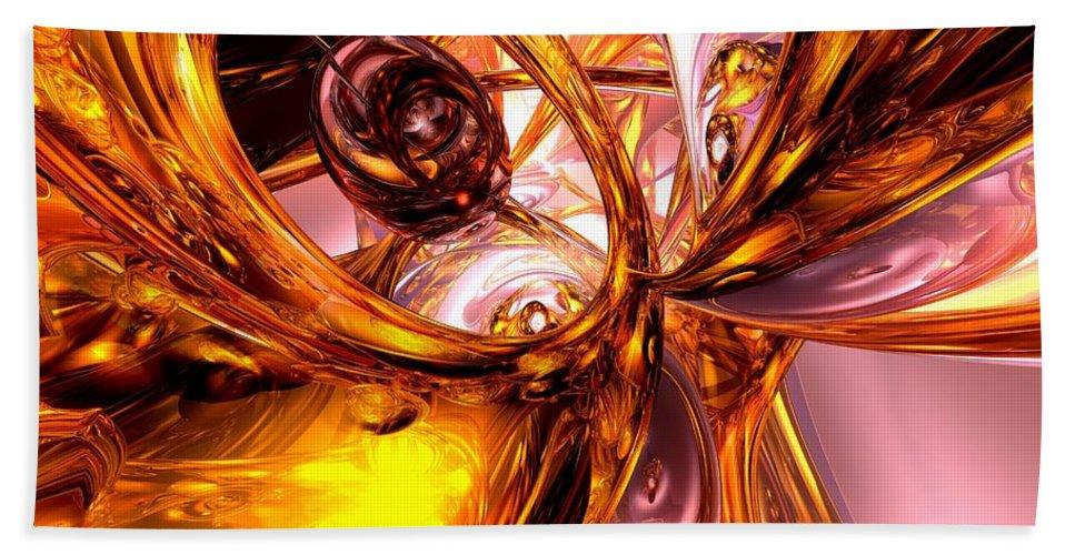 3d Bath Sheet featuring the digital art Golden Maelstrom Abstract by Alexander Butler