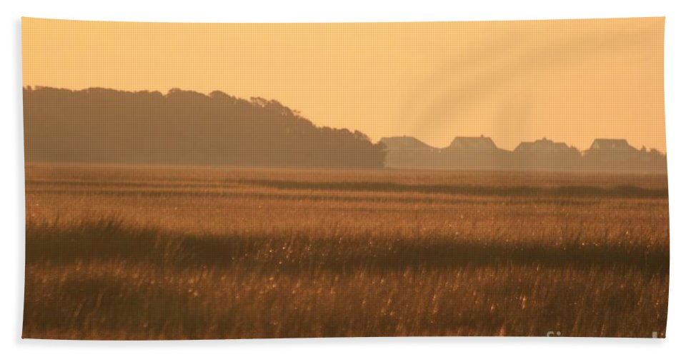 Marsh Hand Towel featuring the photograph Golden Marshes by Nadine Rippelmeyer