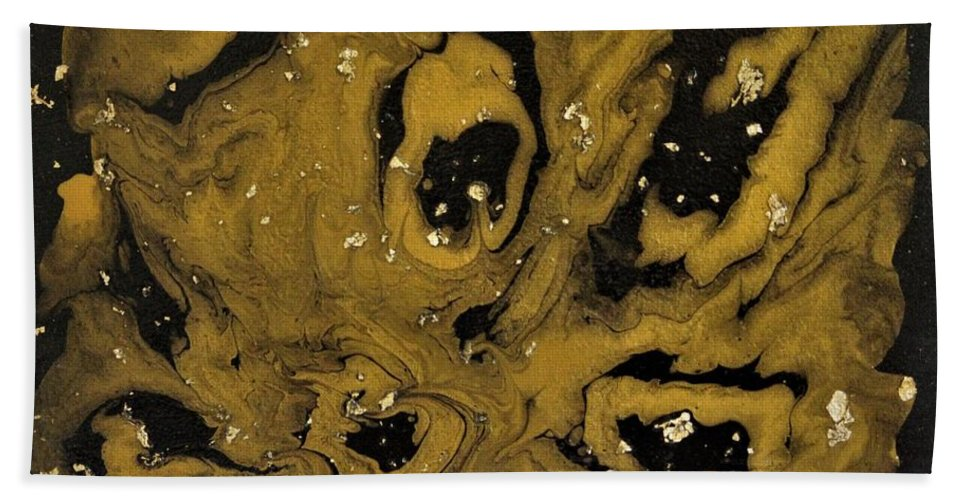 Abstract Acrylic Art Bath Sheet featuring the painting Golden Meteors by Jane Gannon