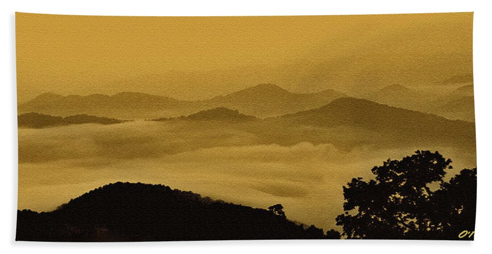 Clouds Hand Towel featuring the digital art Golden Morning Above The Clouds by Claudia O'Brien