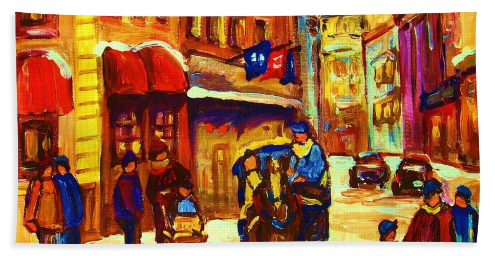Montreal Bath Towel featuring the painting Golden Olden Days by Carole Spandau