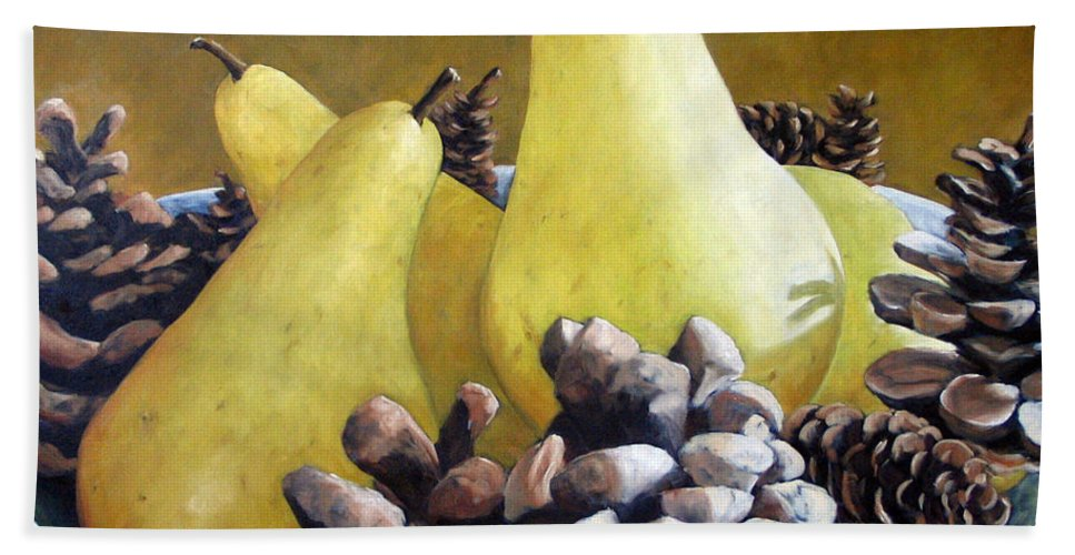 Canadian Bath Sheet featuring the painting Golden Pears And Pine Cones by Richard T Pranke
