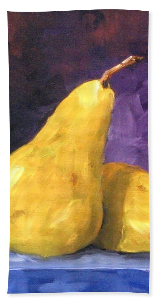 Art Bath Towel featuring the painting Golden Pears by Richard T Pranke