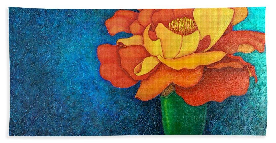 Marigold Bath Sheet featuring the painting Golden Petals by Madalena Lobao-Tello