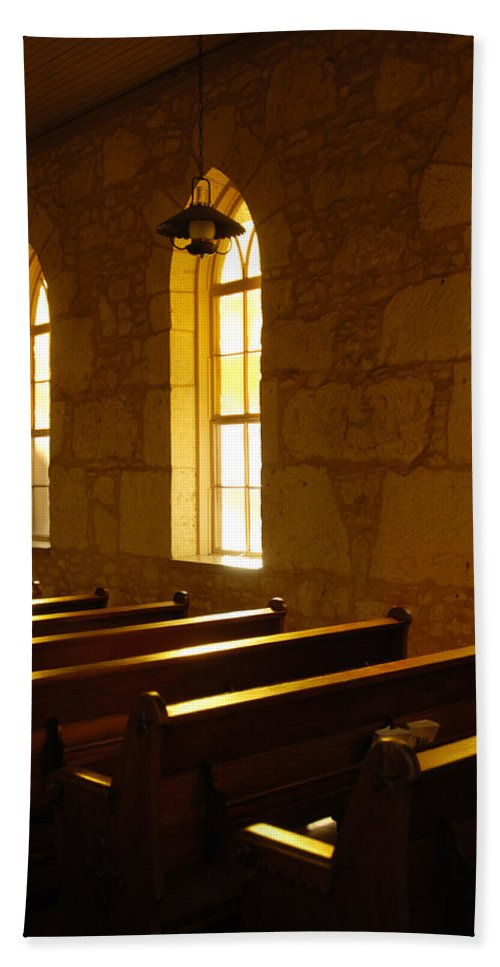 Worship Bath Towel featuring the photograph Golden Pews by Jill Reger