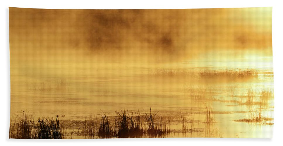 Golden Bath Sheet featuring the photograph Golden Pond by Whispering Peaks Photography