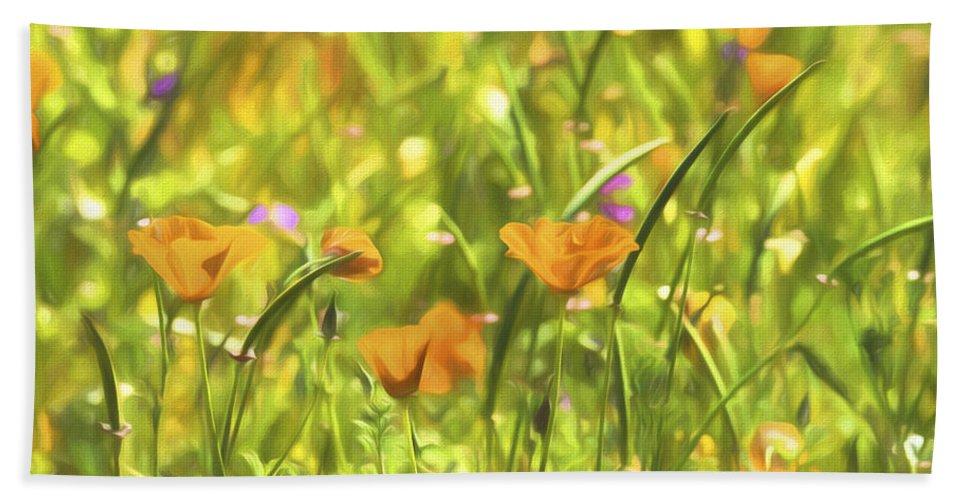 Poppies Bath Towel featuring the photograph Golden Poppies In A Gentle Breeze by Saija Lehtonen