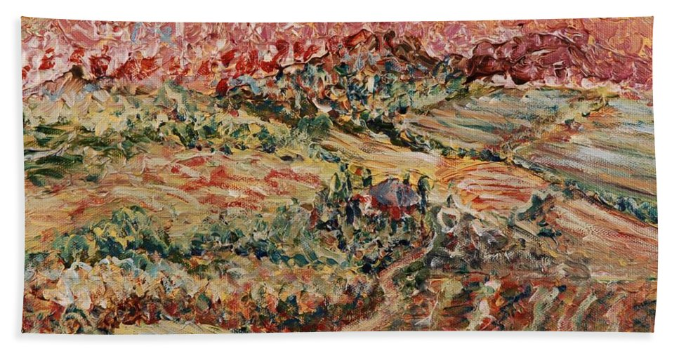 Provence Hand Towel featuring the painting Golden Provence by Nadine Rippelmeyer
