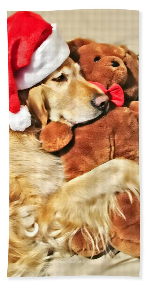Golden Retriever Hand Towel featuring the photograph Golden Retriever Dog Christmas Teddy Bear by Jennie Marie Schell