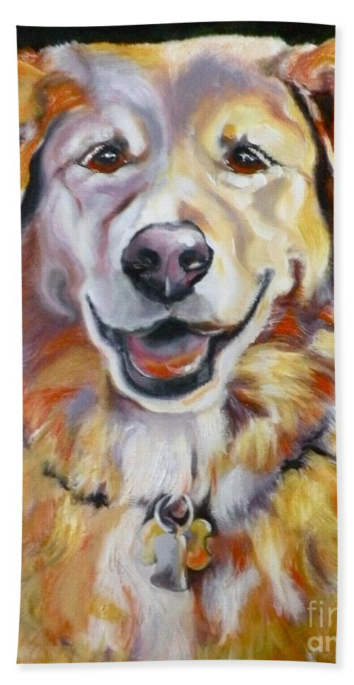 Dogs Bath Sheet featuring the painting Golden Retriever Most Huggable by Susan A Becker