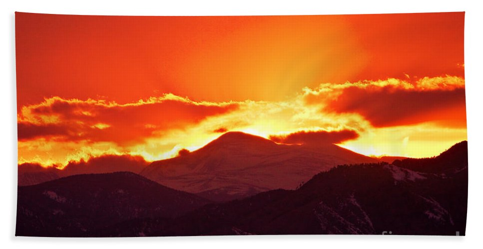 Sunset Bath Sheet featuring the photograph Golden Rocky Mountain Sunset by James BO Insogna