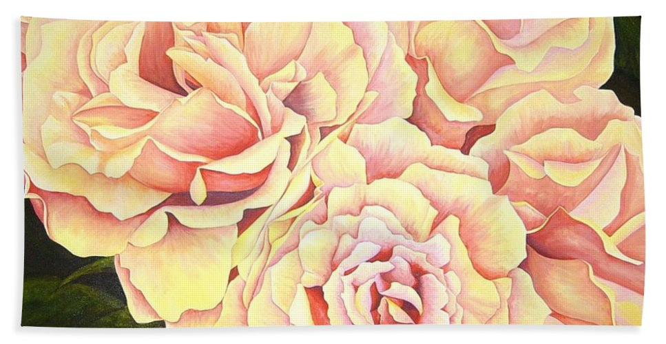 Roses Bath Towel featuring the painting Golden Roses by Rowena Finn