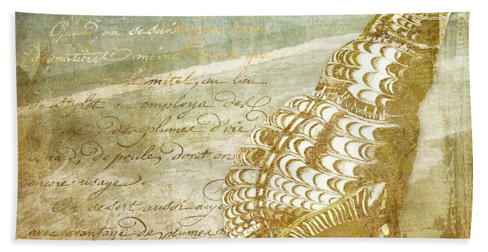 Beach Hand Towel featuring the painting Golden Sea Four by Mindy Sommers