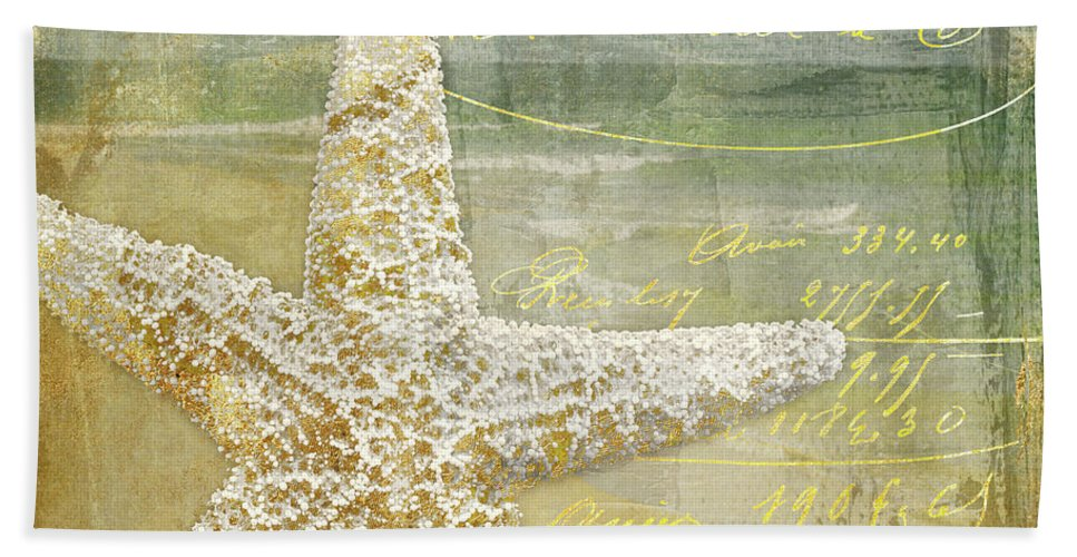 Beach Hand Towel featuring the painting Golden Sea Two by Mindy Sommers