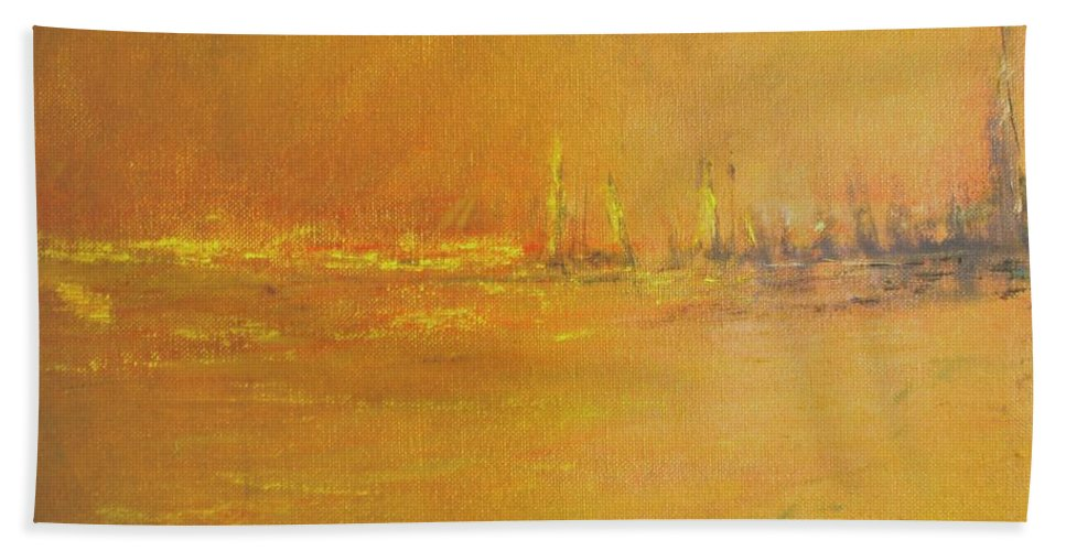 Ships Hand Towel featuring the painting Golden Sky by Jack Diamond