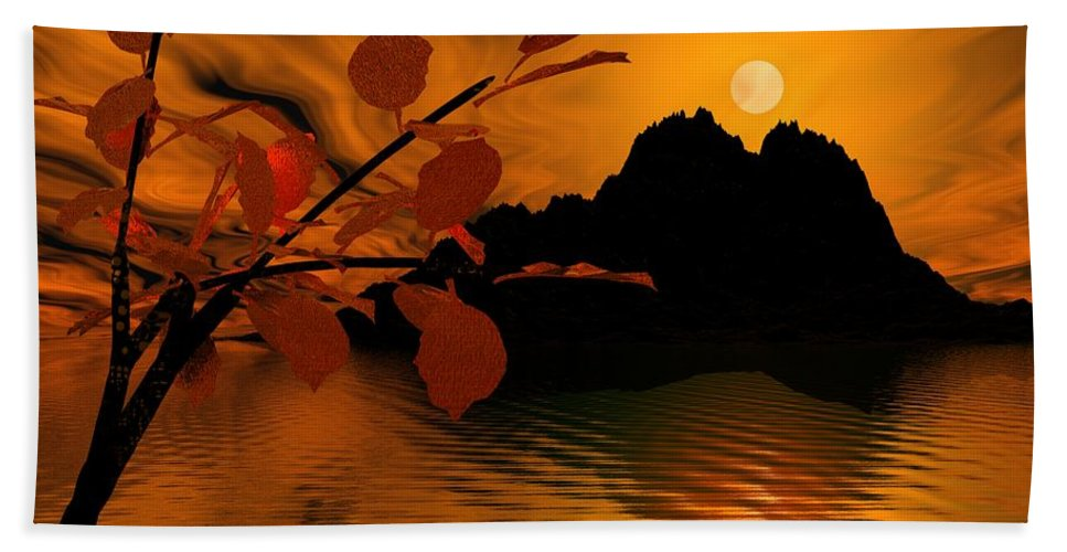 Landscape Hand Towel featuring the digital art Golden Slumber Fills My Dreams. by David Lane
