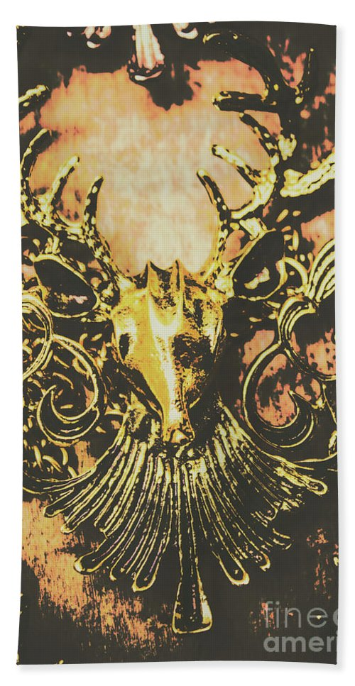 Decoration Hand Towel featuring the photograph Golden Stag by Jorgo Photography - Wall Art Gallery