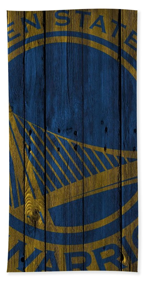 Warriors Bath Towel featuring the photograph Golden State Warriors Wood Fence by Joe Hamilton
