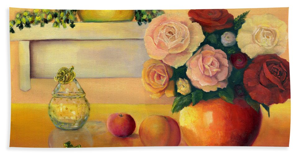 Still Life Hand Towel featuring the painting Golden Still Life by Marlene Book