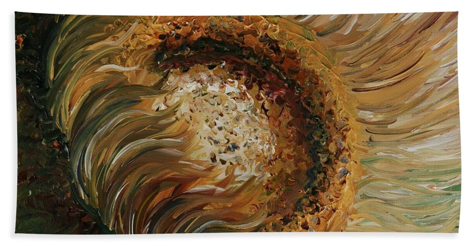 Sunflower Bath Towel featuring the painting Golden Sunflower by Nadine Rippelmeyer
