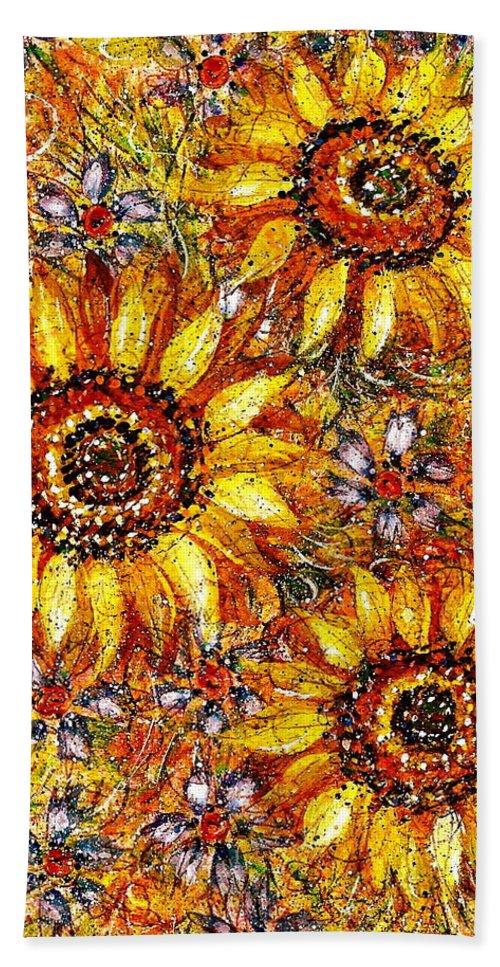 Sunflowers Bath Towel featuring the painting Golden Sunflower by Natalie Holland