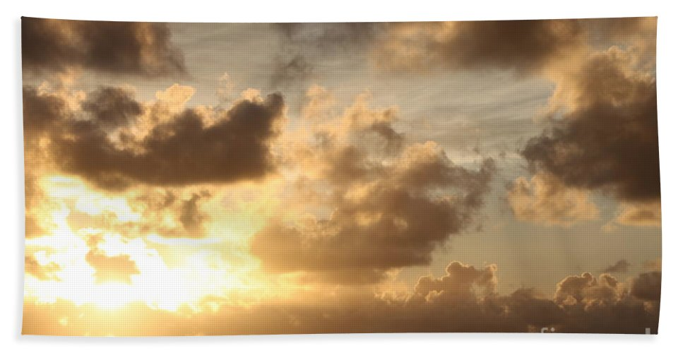 Sunrise Bath Sheet featuring the photograph Golden Sunrise On Kauai by Nadine Rippelmeyer