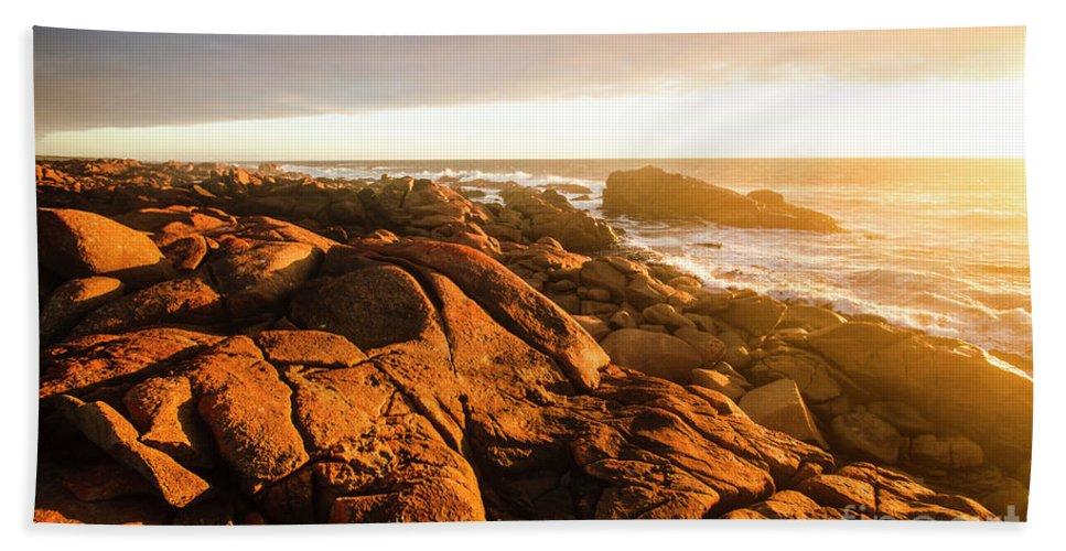 Sunset Hand Towel featuring the photograph Golden Sunset Coast by Jorgo Photography - Wall Art Gallery
