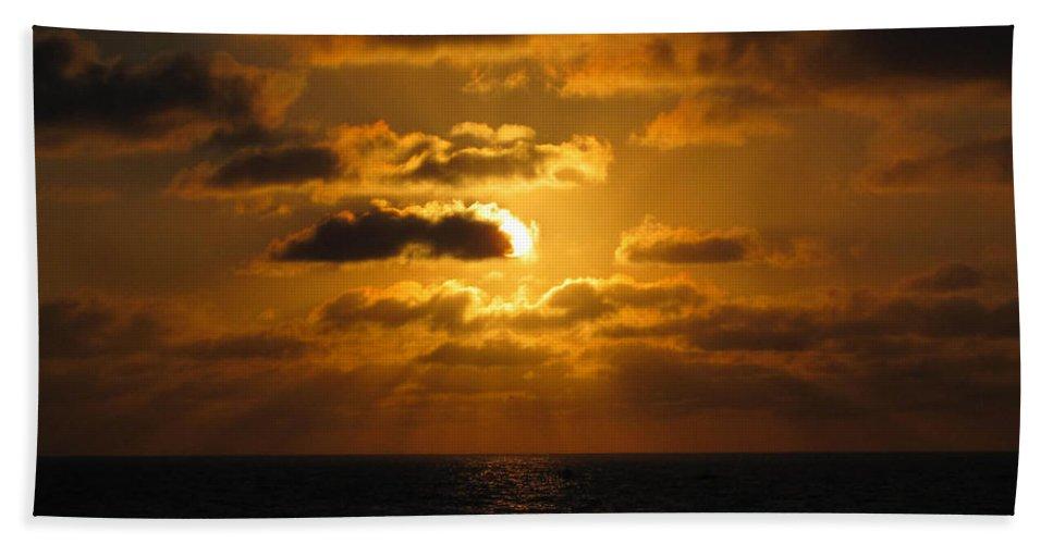 Sunset Hand Towel featuring the photograph Golden Sunset by Marta Robin Gaughen