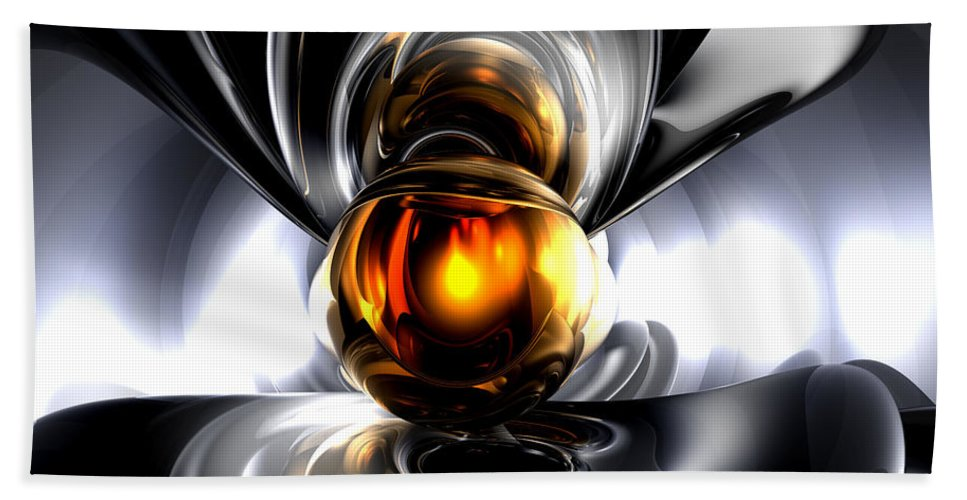 3d Hand Towel featuring the digital art Golden Tears Abstract by Alexander Butler
